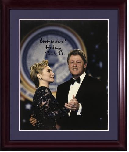 Hillary Bill Clinton President 1st lady signed 11x14 photo framed 2 auto PSA LOA