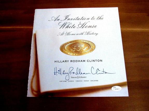 Hillary Rodham Clinton An Invitation To The White Book Page Signed Auto Jsa Loa