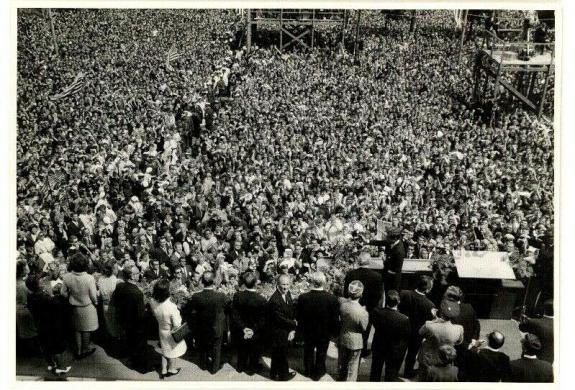 Historic 1963 President John F. Kennedy Berlin Wall Speech, Original News Photo
