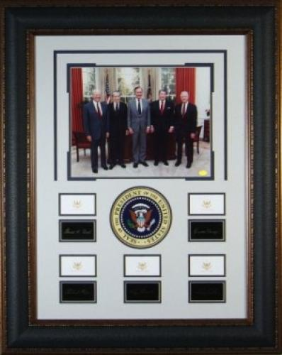 Historic Five US Presidents Eng Replica Signatures Collection 29x37 Framing w/ Photo- Gerald Ford, Richard Nixon, Jimmy Carter