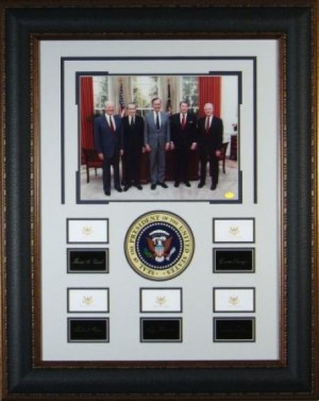 Historic Five US Presidents Engraved Replica Signatures Collection 29x37 Framing w/ Photo- George H.W. Bush & Ronald Reagan