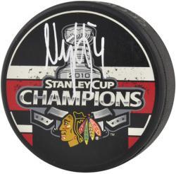 Niklas Hjalmarsson Chicago Blackhawks Stanley Cup 2010 Autographed Logo Puck