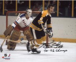 "Ken Hodge Boston Bruins Autographed 8"" x 10"" vs. New York Rangers Photograph with 70-72 SC Champs Inscription"