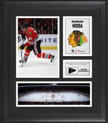 "Marian Hossa Chicago Blackhawks Framed 15"" x 17"" Collage with Piece of Game-Used Puck"