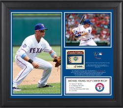 "Michael Young Texas Rangers Retirement Framed 15"" x 17"" 2-Photo Collage with Game-Used Baseball"