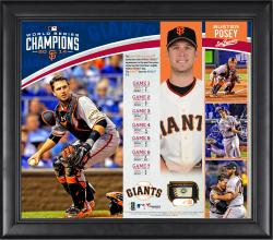 Buster Posey San Francisco Giants 2014 World Series Champions 15'' x 17'' Framed Collage with Piece of Game-Used World Series Baseball - Limited Edition of 150