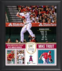 "Mike Trout Los Angeles Angels of Anaheim 2014 American League MVP 15"" x 17"" Framed Collage with Piece of Game-Used Baseball - Limited Edition of 250"