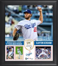 "Clayton Kershaw Los Angeles Dodgers 2014 National League Cy Young Award 15"" x 17"" Framed Collage with Piece of Game-Used Baseball - Limited Edition of 250"