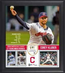 "Corey Kluber Cleveland Indians 2014 American League Cy Young Award 15"" x 17"" Framed Collage with Piece of Game-Used Baseball - Limited Edition of 250"