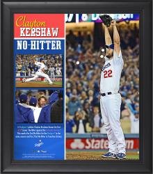 Clayton Kershaw Los Angeles Dodgers No-Hitter Framed 15'' x 17'' Collage - Mounted Memories