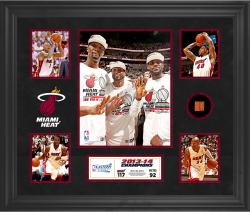 "Miami Heat 2014 NBA Eastern Conference Champions 20"" x 24"" 5-Photograph Collage with Team-Used Basketballl-Limited Edition of 100"