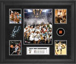 San Antonio Spurs 2014 NBA Finals Champions Framed 5-Photograph Collage with NBA Finals Game-Used Basketball-Limited Edition of 250