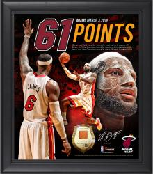 "LeBron James Miami Heat Franchise Record 61 Points Framed 15"" x 17"" Collage with Piece of Game-Used Ball - Limited Edition of 250"