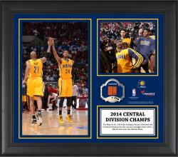 "Indiana Pacers 2014 Central Division Champions Framed 15"" x 17"" Collage with Team-Used Ball-Limited Edition of 250"