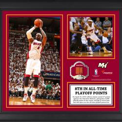 "LeBron James Miami Heat 8th All-Time Playoff Scoring Framed 15"" x 17"" Collage with Team-Used Ball-Limited Edition of 250"