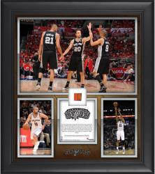 Tim Duncan, Manu Ginobili, & Tony Parker San Antonio Spurs Most Career Playoff Wins By a Trio Framed 15'' x 17'' Collage with Team-Used Ball-Limited Edition of 250 - Mounted Memories