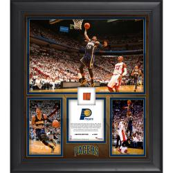 "Paul George Indiana Pacers Franchise Record Most Points in a Season Framed 15"" x 17"" Collage with Team-Used Ball-Limited Edition of 500"