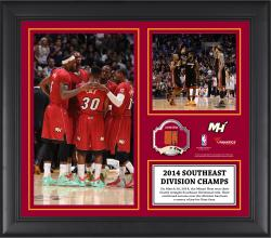 "Miami Heat 2014 Southeast Division Champions Framed 15"" x 17"" Collage with Team-Used Ball-Limited Edition of 250"