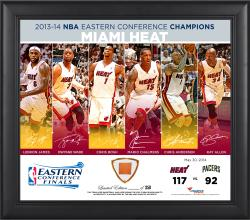 "Miami Heat 2014 NBA Eastern Conference Champions 15"" x 17"" Collage with Team-Used Ball-Limited Edition of 250"
