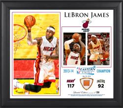 "LeBron James Miami Heat 2014 NBA Eastern Conference Champs 15"" x 17"" Collage with Team-Used Ball-Limited Edition of 250"
