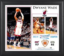 "Dwyane Wade Miami Heat 2014 NBA Eastern Conference Champs 15"" x 17"" Collage with Team-Used Ball"