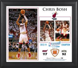 "Chris Bosh Miami Heat 2014 NBA Eastern Conference Champs 15"" x 17"" Collage with Team-Used Ball-Limited Edition of 250"