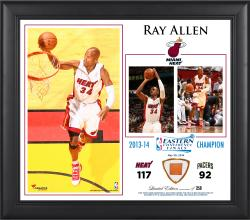 "Ray Allen Miami Heat 2014 NBA Eastern Conference Champs 15"" x 17"" Collage with Team-Used Ball-Limited Edition of 250"