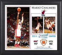"Mario Chalmers Miami Heat 2014 NBA Eastern Conference Champs 15"" x 17"" Collage with Team-Used Ball-Limited Edition of 250"