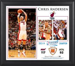 "Chris Andersen Miami Heat 2014 NBA Eastern Conference Champs 15"" x 17"" Collage with Team-Used Ball-Limited Edition of 250"