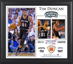 "Tim Duncan San Antonio Spurs 2014 NBA Western Conference Champs Framed 15"" x 17"" Collage with Team-Used Ball-Limited Edition of 250"