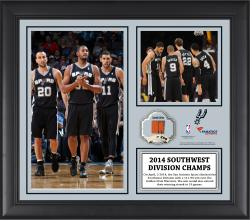 "San Antonio Spurs 2014 Southwest Division Champions Framed 15"" x 17"" Collage with Team-Used Ball-Limited Edition of 250"