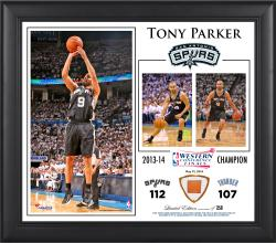 "Tony Parker San Antonio Spurs 2014 NBA Western Conference Champs Framed 15"" x 17"" Collage with Team-Used Ball-Limited Edition of 250"