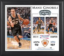 "Manu Ginobili San Antonio Spurs 2014 NBA Western Conference Champs Framed 15"" x 17"" Collage with Team-Used Ball-Limited Edition of 250"