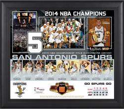 """San Antonio Spurs 2014 NBA Finals Champions Framed 15"""" x 17'' Collage with Team-Used Ball-Limited Edition of 500"""