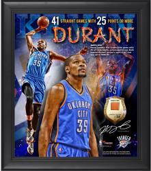 "Kevin Durant Oklahoma City Thunder NBA Single-Season Record Most Consecutive Games with 25 Or More Points Framed 15"" x 17"" Collage with Team-Used Ball - Limited Edition of 250"