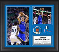 "Dirk Nowitzki Dallas Mavericks 10th All-Time NBA Most Points List Framed 15"" x 17"" Collage with Team-Used Ball-Limited Edition of 250"