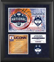 """UConn Huskies 2014 NCAA Men's Basketball National Champions Framed 3-Photograph 20"""" x 24"""" Collage with Game-Used Ball"""