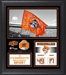 "Oklahoma State Cowboys Win Over Baylor Bears Framed 15"" x 17"" Collage with Game-Used Football - Limited Edition of 250"