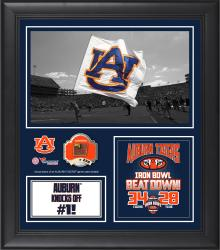"""Auburn Tigers Win Over Alabama Crimson Tide Framed 15"""" x 17"""" Collage with Game-Used Football - Limited Edition of 250"""