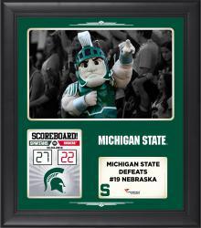 Michigan State Spartans 2014 Win over #19 Nebraska Cornhuskers 15'' x 17'' Framed Collage