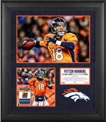 Peyton Manning Denver Broncos Single-Season Passing Touchdown Record Framed Collage with Game-Used Ball - Limited Edition of 500 - Mounted Memories