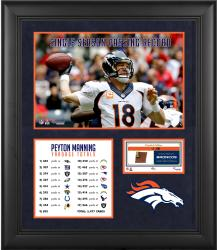 Peyton Manning Denver Broncos Single-Season Passing Yardage Record Framed Collage with Game-Used Ball-Limited Edition of 500 - Mounted Memories