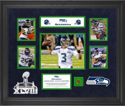 Seattle Seahawks Super Bowl XLVIII Champions Framed 5-Photograph 20'' x 24'' Collage with Game-Used Ball-Limited Edition of 500 - Mounted Memories