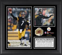 Ben Roethlisberger Pittsburgh Steelers Career Franchise Touchdown Passing Record Framed 15'' x 17'' Collage with Game-Used Ball - Limited Edition of 500 - Mounted Memories