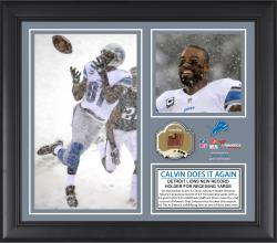 Calvin Johnson Detroit Lions Franchise Career Receiving Yardage Record Framed 15'' x 17'' Collage with Game-Used Ball - Limited Edition of 500 - Mounted Memories