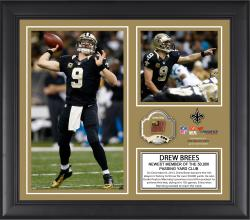 Drew Brees New Orleans Saints 50,000 Career Passing Yards Framed 15'' x 17'' Collage with Game-Used Ball - Limited Edition of 500 - Mounted Memories
