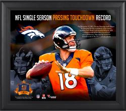 Peyton Manning Denver Broncos Single-Season Passing Touchdown Record Framed 15'' x 17'' Collage with Game-Used Ball - Limited Edition of 500 - Mounted Memories