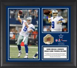 "Tony Romo Dallas Cowboys Franchise Single Game Passing Record Framed 15"" x 17"" Collage with Game-Used Ball - Limited Edition of 500"