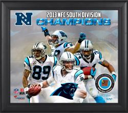 "Carolina Panthers 2013 NFC South Champs Framed 15"" x  17"" Collage with Game-Used Football-Limited Edition of 500"