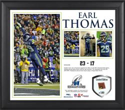 Earl Thomas Seattle Seahawks 2013 NFC Champions Framed 15'' x 17'' Collage-Limited Edition of 500 - Mounted Memories
